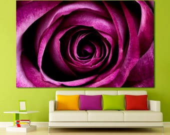 Large rose purle wall art print set on canvas wall decor, pink rose photography flower print large wall art home decor Fine art floral print