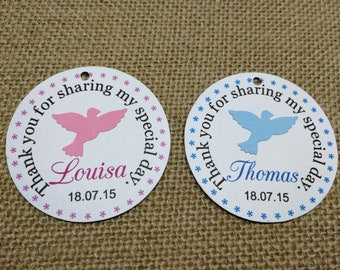 15x Personalised Christening Party Favour Gift Tags, Dove Tags, Baptism Customised Tags