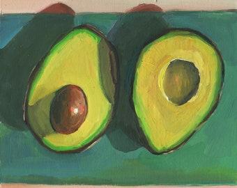 Avocado Original Oil Painting Avocado Wall Decor Fruit Food Kitchen Art  pink and green wall art