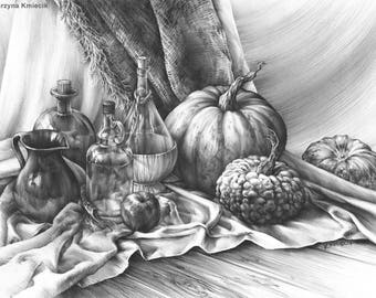 realistic still life drawing - original pencil drawing - original art pencil - original still life - still life sketch - pumpkins drawing