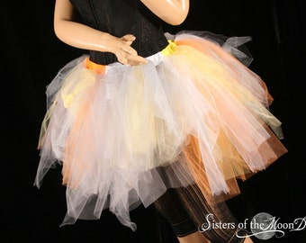 Adult tutu Trash skirt extra poofy Halloween Candy Corn party club rave costume clown -Small - READY TO Ship- Sisters of the Moon