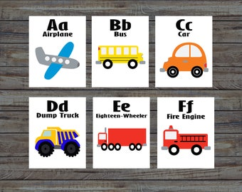 Flash Cards, Transportation, Alphabet Cards, Learning Toys, Educational Toys, Printable Cards, Nursery, Instant Download, Printable Download