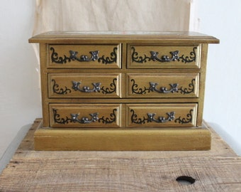 Vintage Gold Florentine Style Jewelry Box