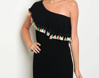 Black one shoulder tassel dress