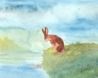 RESERVED for LS - Original Art -  Reflection - Watercolor Rabbit Painting
