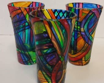 Maine Made Hand Painted Brite Shot Glasses by Amy Kristiansen of Glass Paradox