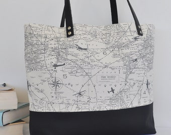 Maps and Planes Canvas and Blacl Leather Tote Bag, Leather Handle Shoulder Bag