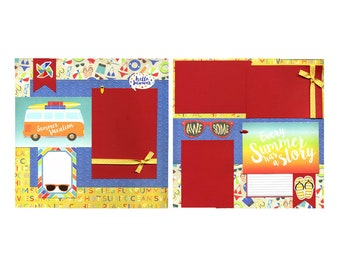 Summer Vacation - Premade Scrapbook Page Set