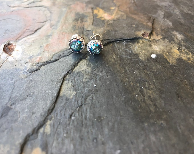 Genuine Sterling Silver Crunchy Druzy Stud Post Earrings Blue Aqua Purple Metallic Talisman Everyday Colorful Rainbow