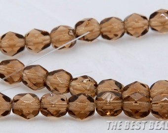 30pcs Brown Faceted Round Fire Polished Czech Glass Beads 6mm