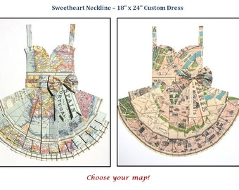 "CUSTOM Sweetheart Style Hand Folded Map Dress - 18"" x 24"" - Choose your map! - Nursery Wall Decor Art"