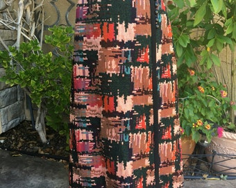 Vintage 1970s wool tapestry psychedelic hippie bohemiam Art Deco wrap maxi skirt size XS S
