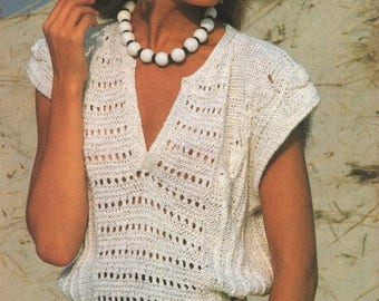 Womens Jumper Top PDF Knitting Pattern : Ladies 32 - 34 and 36 - 38 inch chest . Summer Top . Sweater Top . Instant Download