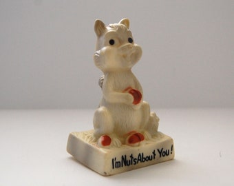 Vintage Squirrel Figurine, I'm Nuts About You, Kitschy Cute Woodland