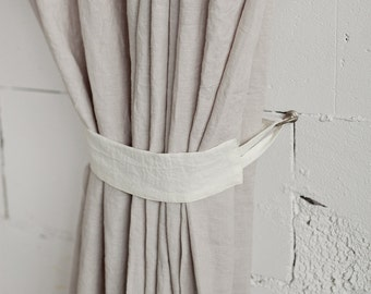 Linen curtain tie back, stonewashed. 13 colours, custom sizes