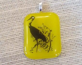 Handmade jewelry handmade glass pendant crane herring bird