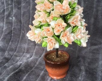 Peach ribbon bonsai tree, hand sewn flowers from ribbon.