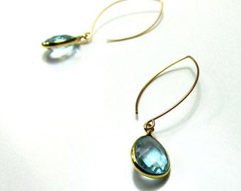 Blue Topaz 14k Gold Filled Long Lotus Style Earrings
