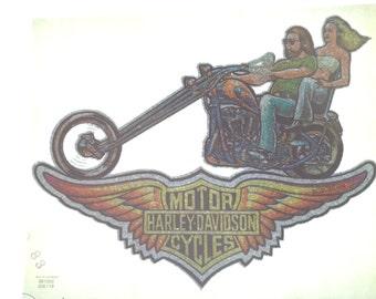 1970's Vintage Harley Davidson Glitter Iron-on on New T-shirt