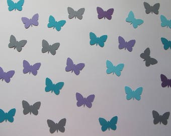 Purple, Teal, Blue, and Grey Confetti - Butterfly Birthday Decorations - Tea Party Decor - Garden Party Decor - Spring Party Decor