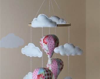 Handmade nursery  hot air balloon baby mobile decorations Cath Kidston