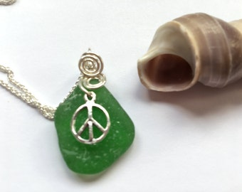 SS Seaglass Necklace Peace necklace SS wired  Sea Glass Seaglass Jewelry Beach Glass Jewelry Handmade, Custom Jewelry