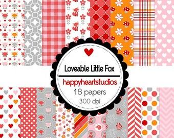 DigitalScrapbooking LoveableLittleFox, Woodland, Fox, flowers, Pink, Red, Orange 0InstantDownload