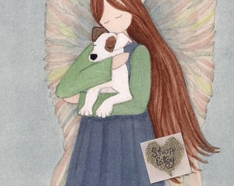 Angel with Jack Russell Terrier (JRT Parson) /  Lynch signed folk art print