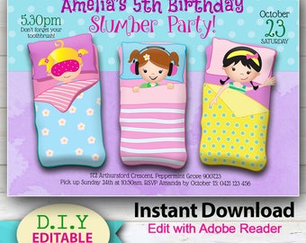 EDITABLE - Girls Party Invitation. Bright and Sweet Sleepover Invitation for girls birthday party. Edit at home with Adobe Reader..
