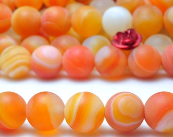47 pcs of Orange Banded Agate matte round beads in 8mm