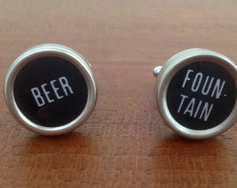 Black cufflinks / Beer cufflinks / vintage cash register keys / typewriter accessories / men's accessory / wedding cufflinks