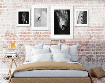 Set of 4 prints horse decor/large wall art/horse prints/headboard bedroom decor/horse wall decor/horse art/girl room decor/large wall art