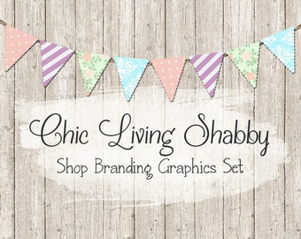 Shabby Chic Bunting Shop Branding Banners, Avatar Icons, Business Card, Logo Label + More - 13 Premade Graphics Files - CHIC LIVING SHABBY