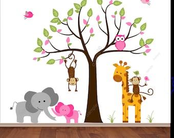 Safari Jungle Decal: girl nursery decal elephant decal giraffe decal monkey wall sticker owl decal tree wall sticker pink jungle theme