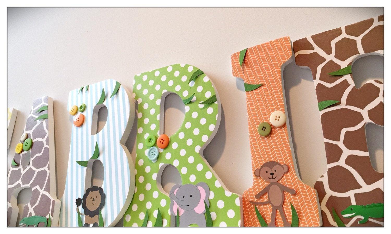 Wood nursery letters safari letters animals boy baby boys - Kinderzimmer safari ...