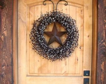 Fall Door Wreath-Fall Wreath-LARGE Door Wreath-Burgundy & Vanilla BARN STAR Wreath-Americana Wreath-Rustic Primitive Country Decor-Custom