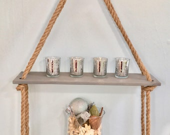 2 Level Grey shelf with Hanger