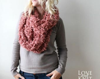 Sale Infinity Scarf- Chunky Cowl Scarf- Long Scarf- Coral- Wrap Scarf- Gift for Her- Winter Accessories- Hand Knit Scarf
