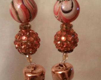 Jingle Bells Earrings, Copper Dangle Bell Earrings, Dangling Earrings with Bells, Holiday Bell Earrings, Jingling Bell Dangle Earrings