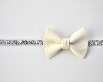 White Butter Soft Leather Bow Silver Gold Woven Elastic Headband Glitter Bow Photo Prop Headband for Newborn Baby Little Girl Child
