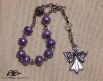 Prayer Beads Rosary Chaplet Purple Pearls Angel and Swarovski Crystal