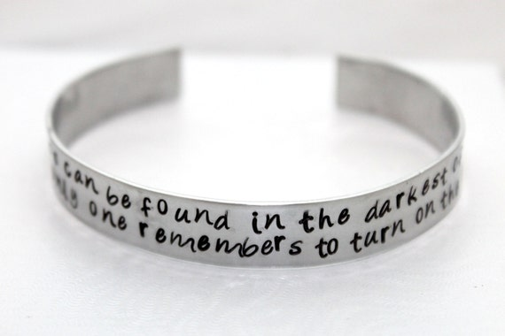 Happiness Can Be Found, In The Darkest of Times, Potter Inspired, Dumbledore, Hand Stamped Bangle, Aluminum Jewelry