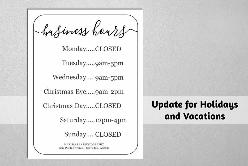 business hours sign  printable template  hours of