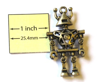 Antiqued Brass Metal 46mm x 25mm ROBOT Pendant, 1086-17