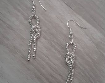 Silver dangle chain earrings