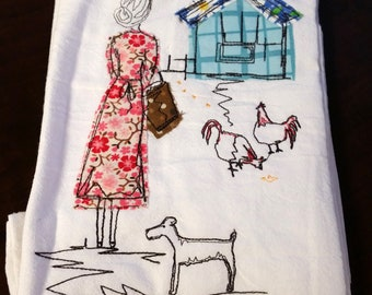 Feeding Chickens Flour Sack Towel