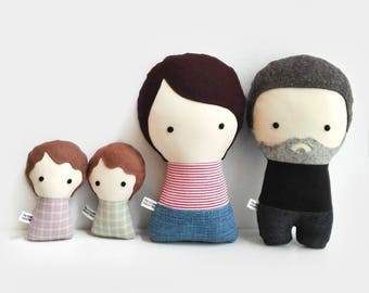 Personalized family dolls, custom stuffed doll, family gift, stuffed dolls, human figure doll, personalized gift, custom gift, fathers day