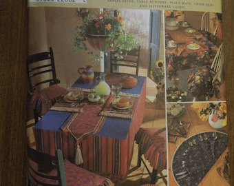 Simplicity 8350, place mats, napkins, chair seat pad, tablecloth, table runner, UNCUT sewing patterns, craft supplies