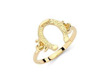 Gold horseshoe ring Etsy