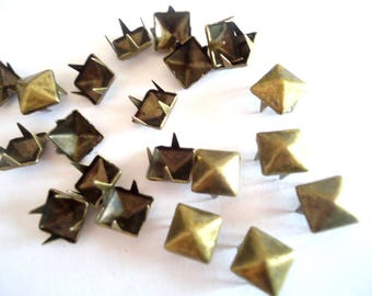 LOT 100 8 mm square metal claw nails / bronze pyramid - average rivets for customisation textiles, accessories, clothing, shoes